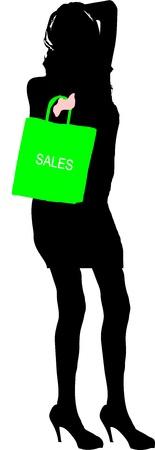 leggy: Sexy fashion-victim girl with shopping sales bag