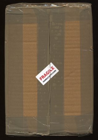 handle with care: Fragile handle with care - corrugated cardboard packet