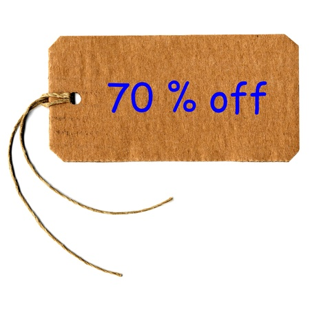 70  off price tag label with string Stock Photo - 18185606