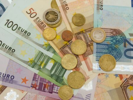 Euro (EUR) banknotes and coins money useful as a background or money concept Stock Photo - 18339581