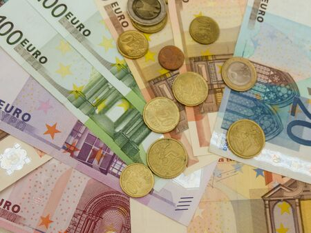 Euro (EUR) banknotes and coins money useful as a background or money concept Stock Photo - 18339586