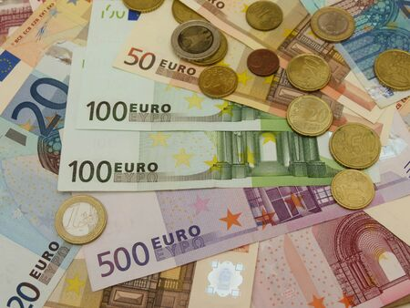 Euro (EUR) banknotes and coins money useful as a background or money concept Stock Photo - 18339602
