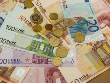 Euro (EUR) banknotes and coins money useful as a background or money concept Stock Photo - 18339606