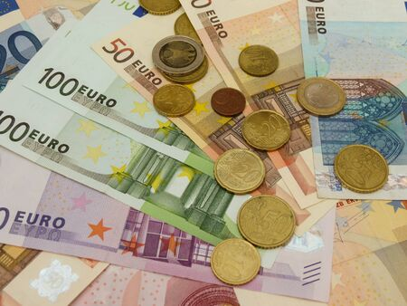 Euro (EUR) banknotes and coins money useful as a background or money concept Stock Photo - 18339599
