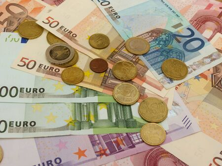 Euro  EUR  banknotes and coins money useful as a background or money concept Stock Photo - 18339597