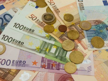Euro  EUR  banknotes and coins money useful as a background or money concept Stock Photo - 18339601