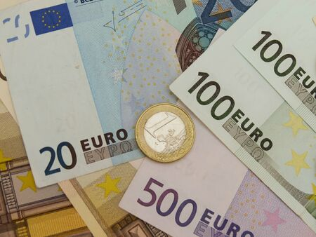 Euro (EUR) banknotes and coins money useful as a background or money concept Stock Photo - 18356216