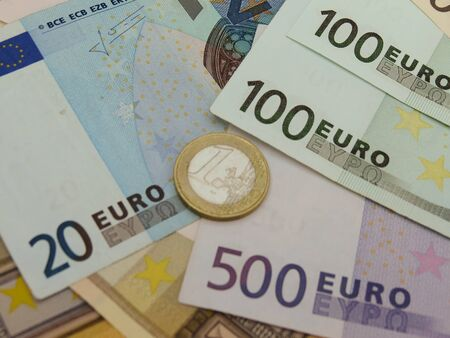 Euro (EUR) banknotes and coins money useful as a background or money concept Stock Photo - 18356207