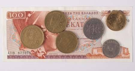 greek coins: Greek drachmas banknotes and coins Stock Photo