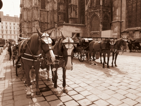 retro horse coaches - modern fake sepia photo