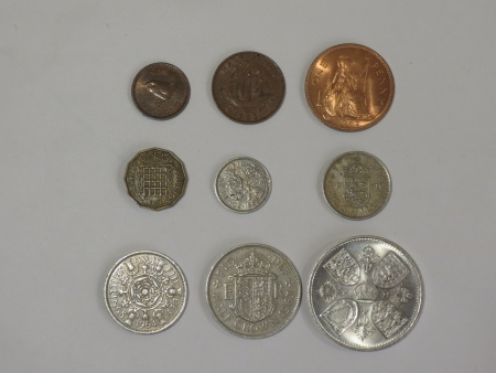 Pre-decimal GBP British Pounds coins  currency of United Kingdom , in use before the Decimal -Day  15 February 1971  - farthing  quarter of 1d , half-penny, penny, three-pence, six-pence, shilling  1s , two shillings  2s , half-crown  2 6 , coronation cro photo