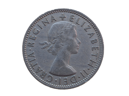 gbp: two shillings coin  GBP  released in 1964 Stock Photo