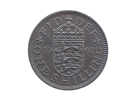 shilling:  one shilling coin  GBP  released in 1961