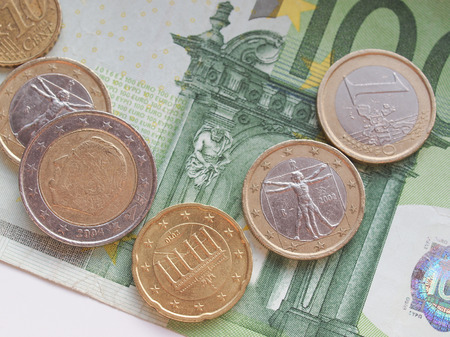 legal tender: Euro (EUR) banknotes and coins money useful as a background or money concept Stock Photo