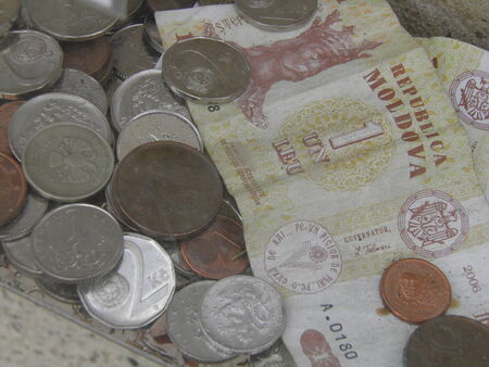Coins and banknotes from different countries