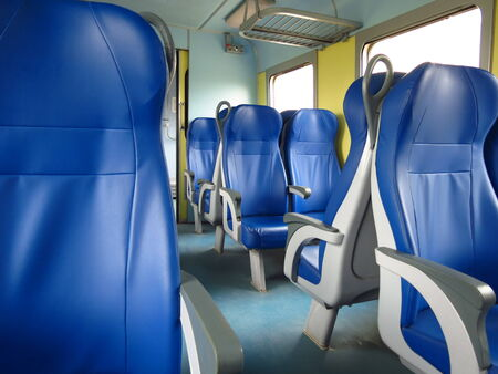 train seats empty useful as travel concept photo