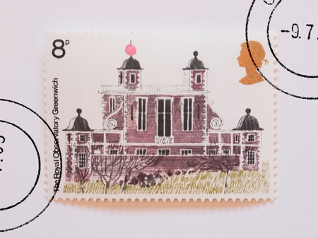 UK, CIRCA 1977 - Mail stamp bearing the Royal Observatory of Greenwich, released in the UK circa 1977 photo