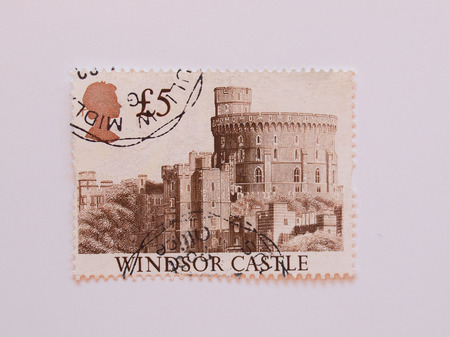 UK, CIRCA 1977 - Mail stamp bearing the Royal Castle of Windsor, released in the UK circa 1977 photo