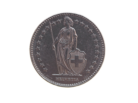legal tender: Swiss franc CHF (legal tender of Switzerland - Confederation Helvetique) coin Stock Photo
