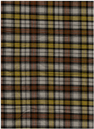 bedcover: dark red and yellow tartan cotton fabric Stock Photo