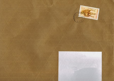ceska: PRAGUE, CIRCA FEBRUARY 2014 - Brown letter envelope with stamp from the Czech Republic, in Prague, February 2014 Editorial