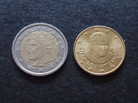 limbo: Two euro coin bearing the portrait of Dante Alighieri who depicted the Limbo in his Divine Comedy, and Fifty euro cent coin bearing the portrait of Pope Benedict XVI who closed the Limbo in 2007