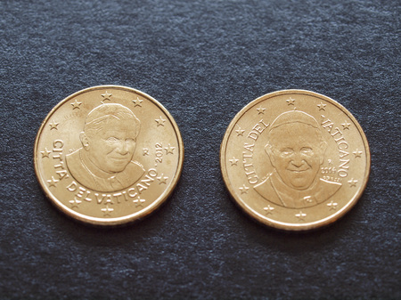 Fifty euro cent coins (EUR) bearing the portrait of Pope emeritus Benedict XVI and Pope Francis I