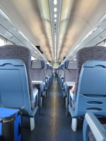 VERONA, CIRCA JULY 2014 - train seats empty useful as travel concept