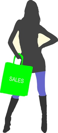 stockings and heels: Sexy fashion-victim girl with shopping sales bag - isolated vector illustration