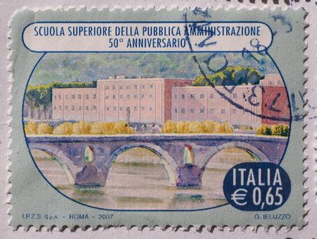 ie: ROME, ITALY- CIRCA DECEMBER 2014: 65 eurocent stamp from Italy showing the Scuola Superiore della Pubblica Amministrazione, i.e. the School for the Public Administration