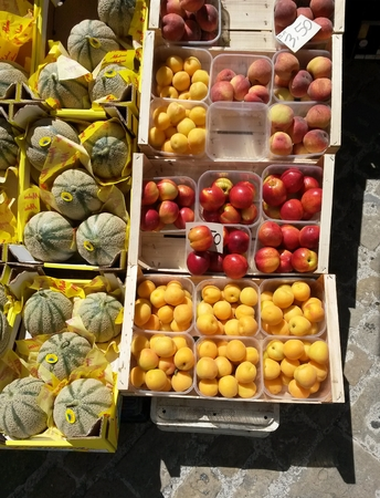 kinds: different kinds of fruit on a marketplace counter Editorial