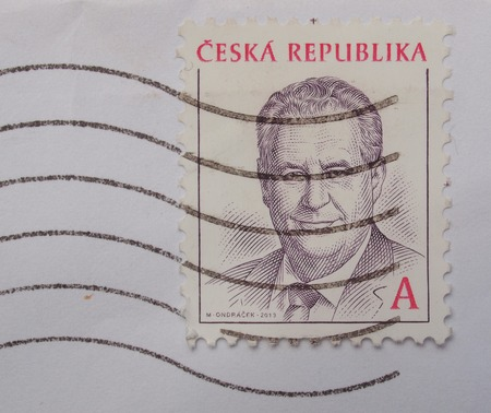 ceska: PRAGUE, CZECH REPUBLIC - CIRCA 2013: A post stamp printed in Czech Republic bearing the portrait of an unidentified local politician Editorial