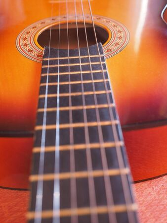 playing folk: Detail of an acoustic guitar for playing music