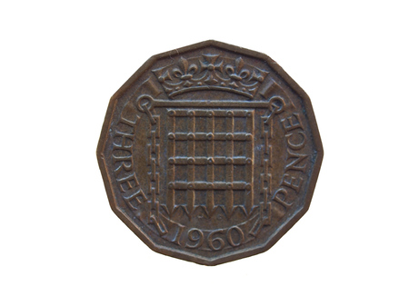 gbp: three pence predecimal coin (GBP) released in 1960