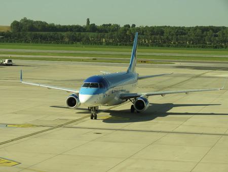 estonian: VIENNA, AUSTRIA - CIRCA JUNE 2012: Aircraft of the Estonian Airlines at the airport of Schwechat Editorial
