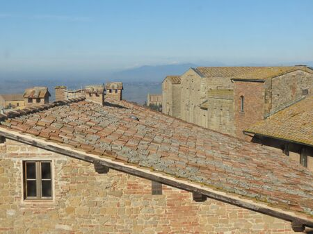 volterra: Volterra, Italian medieval town - view of the city centre Editorial