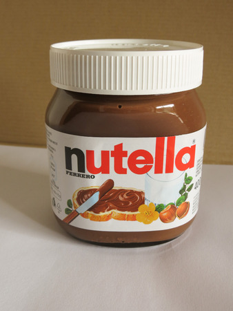 ferrero: ROME ITALY  CIRCA FEBRUARY 2015: Nutella jar Ferrero Nutella has been one of the best known Italian products worldwide for a few decades