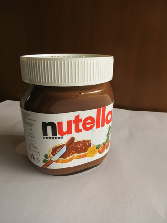 decades: ROME, ITALY - CIRCA FEBRUARY 2015: Nutella jar Ferrero Nutella has been one of the best known Italian products worldwide for a few decades Editorial