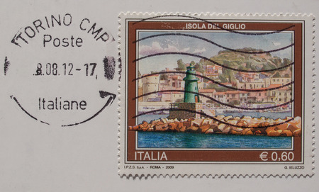 isola: ITALY - CIRCA 2009: A stamp printed in Italy bearing the image of the Isola del Giglio -  with postage meter from Amsterdam Editorial