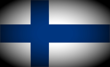 vignetted: Finland flag and language icon - isolated illustration vignetted