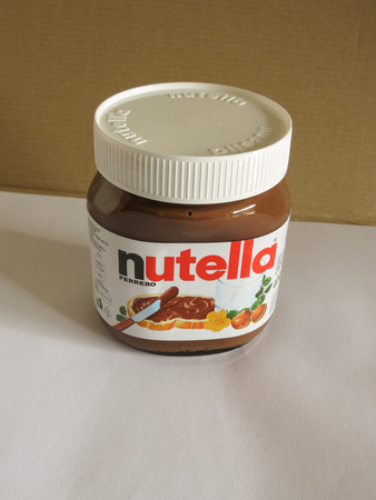 ferrero: ROME, ITALY - CIRCA FEBRUARY 2015: Nutella jar Ferrero Nutella has been one of the best known Italian products worldwide for a few decades Editorial