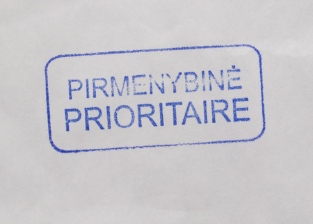 dispatch: Pirmenybine Prioritaire - Priority mail tag from Lithuania