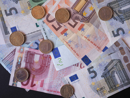 eur: Euro notes and coins EUR - Legal tender of the EU Stock Photo
