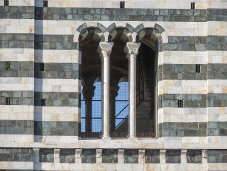 crossway: Siena, Italian medieval town - detail of a window of the cathedral steeple