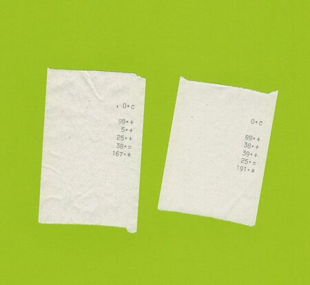 light green background: two bills or receipts isolated over light green background