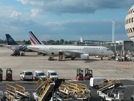 charles de gaulle: PARIS, FRANCE - CIRCA MAY, 2015: Air France Airbus A320 jet at the gates at Charles De Gaulle Airport. Air France is the French flag carrier and subsidiary of the Air France-KLM Group