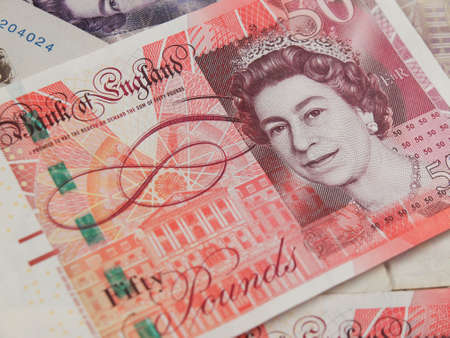 gbp: LONDON, UK - CIRCA JULY 2015: British sterling pound GBP banknotes, currency of the United Kingdom