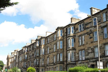 houses row: A row of terraced houses in Britain Editorial