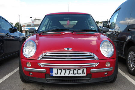 onwards: YORK, UK - CIRCA AUGUST 2015: red Mini Cooper car new model, produced from 2013 onwards