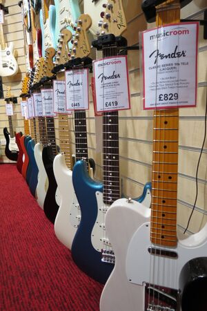 YORK, UK - CIRCA AUGUST 2015: Fender Telecaster and Stratocaster electric guitars for sale